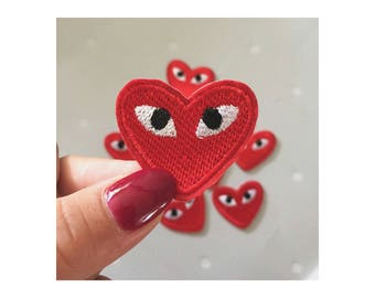 Eye heart patches/heart eye patches/iron on/patches/denim/cool stuff/ style/red patch whole sale