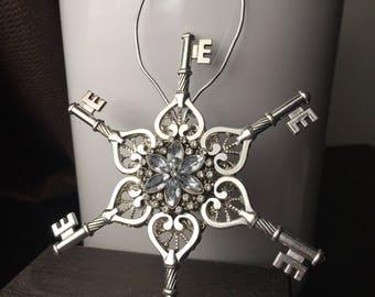Christmas Gifts Jeweled Handmade Christmas Ornament - Steampunk Ornament - Victorian Christmas Ornament - Key Ornament - Victorian Ornament