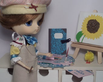 Lot accessories, miniatures, Studio painting, scale Pullip doll, other