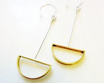 Deco Half-Circles Earrings, Soldered Gold Brass Semi-Circles, Sterling Silver Wire, Mod Geometric, Art Deco, Mezzaluna Earrings