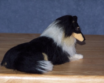 Collie needle felted dog example custom made to order