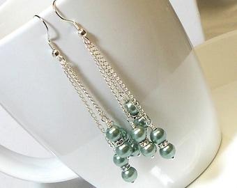 Earrings Gray Green Pearl Triple Chain Wedding Party Dangle Earrings