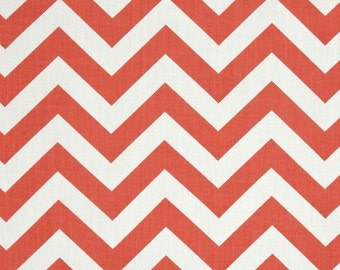Coral Chevron Fabric by the BOLT Home Decor zigzag on white Premier Prints upholstery drapes pillows runners curtains, 30 yards!