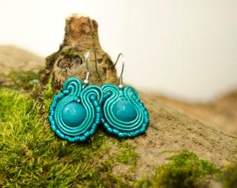 Teal soutache earrings Bohemian wedding bridemaids jewellery Jade gemstones earrings Small earrings vivid colours eye catching jewelry style