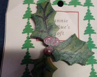 Holly and berries Christmas pin handpainted