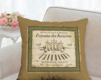 Wine Lable Pillow