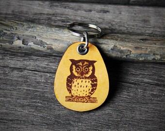 Owl - genuine leather keychain