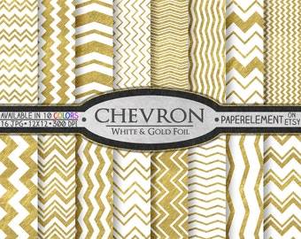 White and Gold Chevron: Gold and White Chevron, Printable Gold and White Patterns, Gold and White Paper, White and Gold 12x12 Scrapbook Page