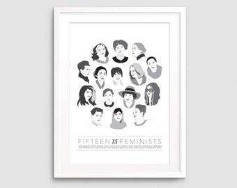 15 Feminists Art Print - Feminist Art, Women's Rights, Feminist Illustration, Minimalist Art, Wall Art, Posters, 11x14 art print