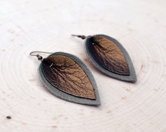 Upcycled Metallic Leather Leaf Drop Earrings
