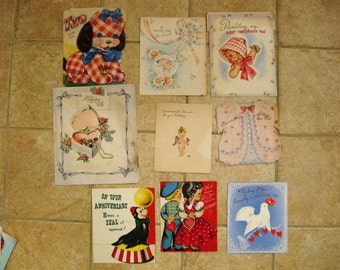 Vintage 9 pc lot Children Baby Greeting Cards 1950s Used from Pam SALE