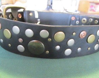 Black studded faux leather belt flat button studs Ripcurl brand vintage 90s punk steampunk.