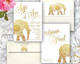 Indian themed Sip and See Invitation // Bollywood // Elephant // Paisley // Gold // Mehndi // Henna // Baby Shower // JAIPUR COLLECTION
