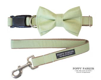 Sage Green Layered Dog Bow Tie - Optional Matching Dog Collar Dog Leash - Light Green Dog Collar