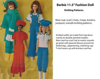"Barbie Knitting Patterns Fashion Doll 11.5"" patns peasant top maxi coat pattern overalls PDF DOLL103"