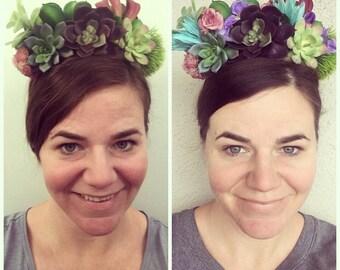Faux Succulent Headband Flower Crown Boho Wedding Headpiece Frida Headdress Rustic Bridal Hair Halo Floral Bohemian Green Festival Accessory