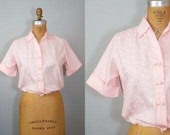 1950s Rockabilly Blouse / 50s Blouse /  Pink Cotton Blouse