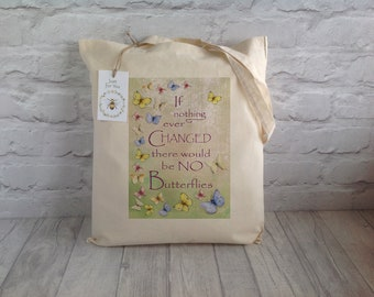 Butterfly Tote Bag / Reusable Shopper Bag / Shopping Bag / Cotton Tote / Eco Tote Bag / Farmers Market Bag / Mother's day Gift / Book Bag