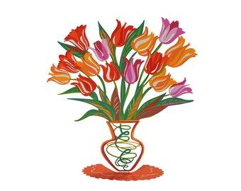 Tulip Flowers, Metal Tulip Flowers Vase Sculpture, Home Decor, Table Decor, Table Vase Centerpiece, Metal Art, Tulips Flower Vase