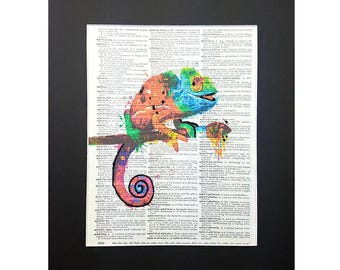 Colorful Gecko on Vintage Dictionary Page Art Print, Wall Decor, Digital Manipulation with Sparks of Glitter, Christmas Gift