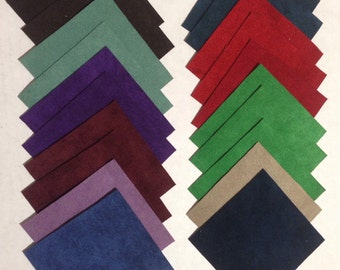 Ultrasuede fabric squares scraps samples 3 in X 3 in 20 pieces Assorted Colors