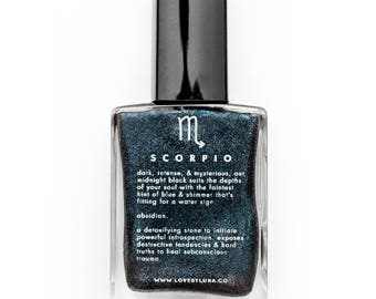 Scorpio + Obsidian Nail Polish | Crystal Infused Nail Polish | Nail Polish For Scorpio | Zodiac Nail Polish | Best Zodiac Gifts | Scorpio