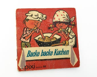 "German Pixie book with children's rhymes, ""Bake, bake a cake"", vintage child's book"