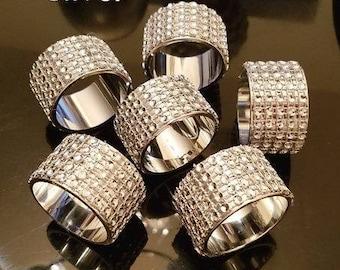 Rhinestone Napkin Rings (set of 6), Wedding Napkin Rings