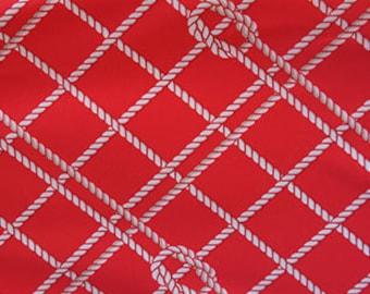 White Nautical Sailor Knots on Red Swim Dance Performance Knit Fabric [SKU:MFR13FAB044]
