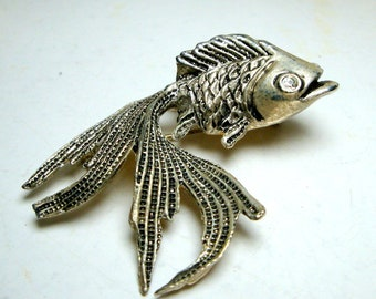 Vintage KOI Goldfish Carp Fish Pin, Silvertone Brooch, 1980s, White Rhinestone Eye, Nautical, Mariner, Collector, Fancy Fins