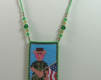 Hero Soldier Military Beaded Amulet Bag Necklace or Wall Art