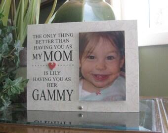 Gammy Gift (SELECT ANY GRANDMOTHER Name), Gammy Frame, Gammy Picture Frame,  Gammy Photo Frame, Frame for Gammy, Ceramic Heart, 4x6 Photo,