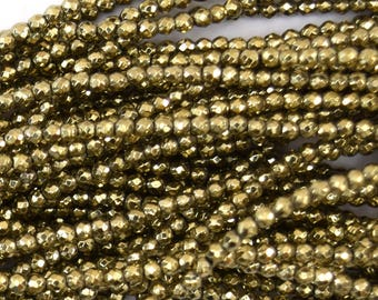 """2mm faceted pyrite hematite round beads 15.5"""" strand 39724"""