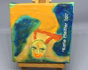 Miniature Mini Mermaid Sea  Goddess  CALLIOPE Painting Travel Outsider Folk Art