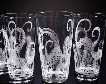 Octopus, Tentacles, Drinking Glass, Glassware Set, Kraken, Etched, Engraved Glass, Set of 4