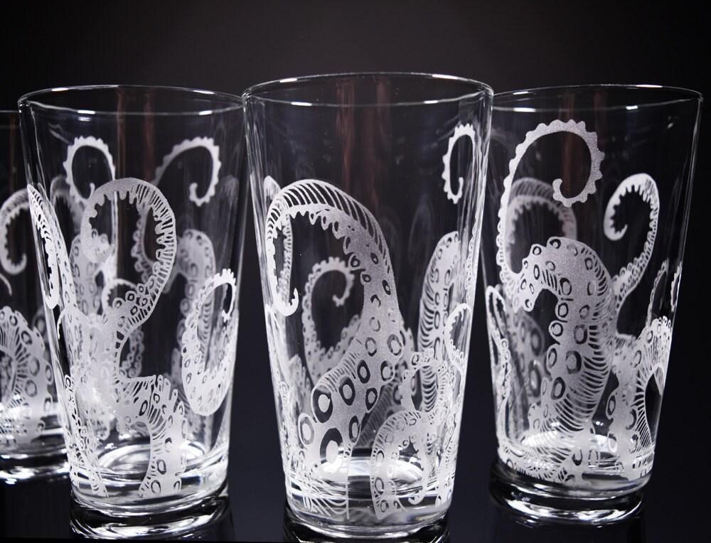 Octopus Tentacles Drinking Glass Glassware Set Kraken