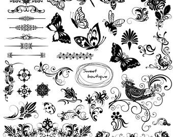 Floral Text Dividers, Butterfly Clip Art, Digital clipart,Digital Invitation, Flower Digital Frame, Frame clipart, Calligraphy clipart 1002