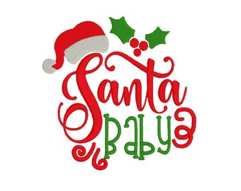 Santa Baby - Embroidery Design - Baby Bib - Design - Christmas Design - Machine Embroidery- Child's Shirt Design