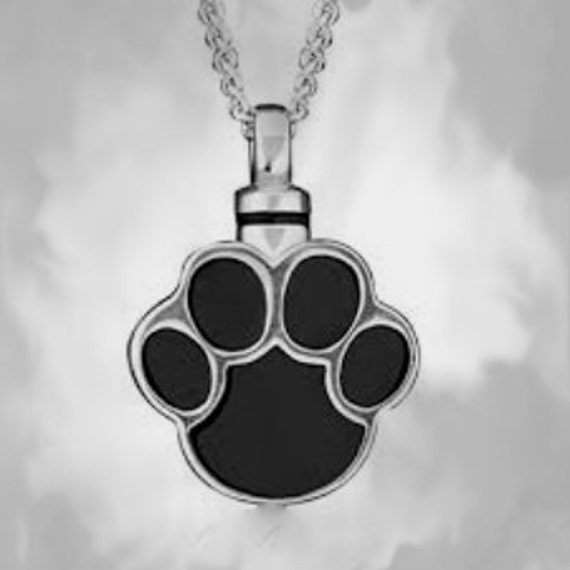 "Stainless Steel ""Paw Shaped"" Cremation Urn on 24"" Ball-Chain Necklace - with Velvet Pouch"
