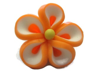 Bright Orange Polymer Clay Flowers 20mm Beads Set of 4 (H02)