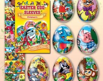Children's #19 Easter Egg Sleeves  Pysanka Shrink Wraps Egg Decjration