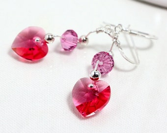 Swarovski Heart Earrings, Crystal Earrings, Valentines Earrings, Alternate July Birthstone, Swarovski Rose Crystal, Sterling Silver