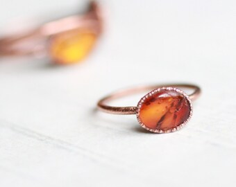 Amber Ring Copper ring Electroformed ring