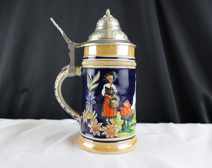 "VTG German Beer Stein Marked M/ R Marzi & Remy made in Germany 7"" Tall Pewter Lid"