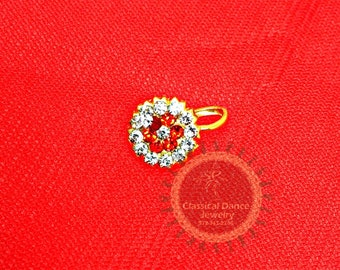 Pair Imitation gold nose pin/nath/stud/Nathni for an non-pierced nose for Bharatanatyam/Kuchipudi Dance/ Weddings and Events