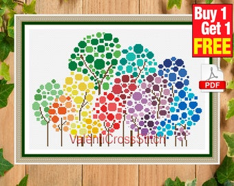 Tree Cross Stitch Pattern, Colored Trees, Modern, Tree, Color, Cross Stitch Patterns, Counted, Pattern,  #sp 139