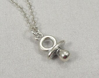 Tiny Pacifier Necklace, Silver Plated Baby Binky Pacifier Charm on a Silver Cable Chain