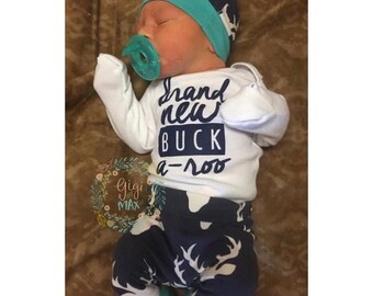 baby boy Brand New Buckaroo coming home outfit Navy and Teal Deer theme going home set baby shower gift coming home from clothing gift