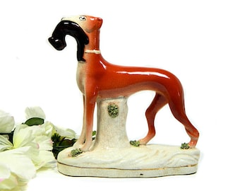 Vintage Reproduction Staffordshire Greyhound with Rabbit