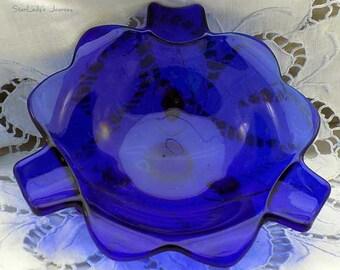 Elegant Vintage Cobalt Blue Ashtray / Trinket Holder
